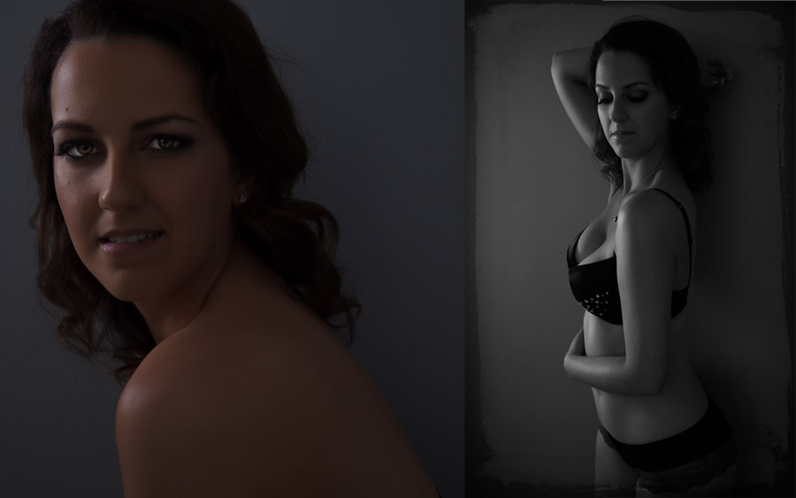 Images by Brad - Vera in profile - dark sensual underwear portrait